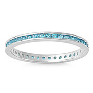 Eternity Ring Blue Simulated Topaz Cubic Zirconia Sterling Silver 925