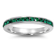 Eternity Ring Simulated Emerald Cubic Zirconia Sterling Silver 925