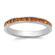 Eternity Ring Yellow Simulated Topaz Cubic Zirconia Sterling Silver 925