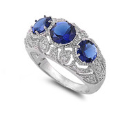 Three Stones Round Simulated Sapphire Cubic Zirconia Ring Sterling Silver 925