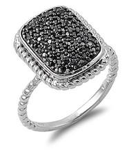 Pave Designer Black Cubic Zirconia Ring Sterling Silver 925