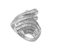 Baguette Rows Designer Cubic Zirconia Ring Sterling Silver 925