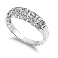 Twin Rows Designer Cubic Zirconia Ring Sterling Silver 925