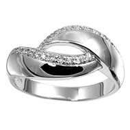Designer Style Curve Cubic Zirconia Ring Sterling Silver 925