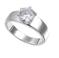 Solitaire Round Center Cubic Zirconia Ring Sterling Silver 925