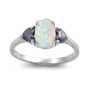 Heart Accented Round Simulated Opal Mystic Simulated Topaz Cubic Zirconia Ring Sterling Silver 925