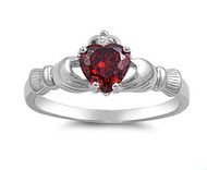 Claddagh Benediction Simulated Garnet Cubic Zirconia Ring Sterling Silver 925