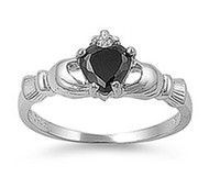 Claddagh Benediction Black Cubic Zirconia Ring Sterling Silver 925