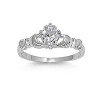 Claddagh Benediction Cubic Zirconia Ring Sterling Silver 925