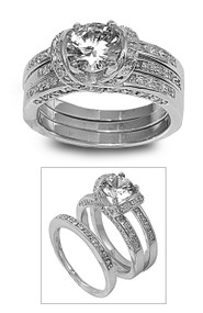 Set of 3 Round Center Engagement/ Wedding Cubic Zirconia Ring Sterling Silver 925