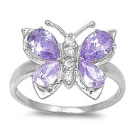 Butterfly Hera Lavender Cubic Zirconia Ring Sterling Silver 925