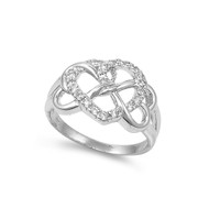 Abstract Heart Cubic Zirconia Ring Sterling Silver 925