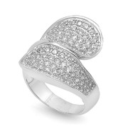 Designer Micro Pave Cubic Zirconia Ring Sterling Silver 925