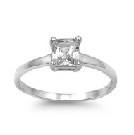 Princess Cut Solitaire Cubic Zirconia Ring Sterling Silver 925