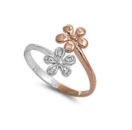 Rose Gold-Tone Plated Transformation of Self Flower Cubic Zirconia Ring Sterling Silver 925