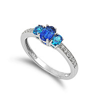 Blue Sided Three Stones Round Simulated Sapphire Cubic Zirconia Ring Sterling Silver 925