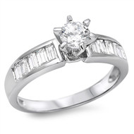 Round Center Engagement Cubic Zirconia Ring Sterling Silver 925