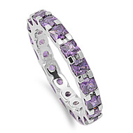 Alternating Eternity Simulated Amethyst Cubic Zirconia Ring Sterling Silver 925