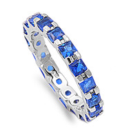 Alternating Eternity Simulated Sapphire Cubic Zirconia Ring Sterling Silver 925