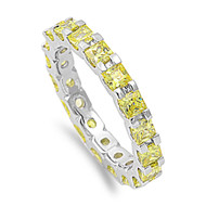 Yellow Gold-Tone Plated Alternating Eternity Cubic Zirconia Ring Sterling Silver 925