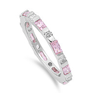Alternating Stones Eternity Baguette Pink Cubic Zirconia Ring Sterling Silver 925