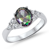 Oval Mystic Simulated Topaz Cubic Zirconia Ring Sterling Silver 925
