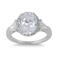 Accented Prong Cubic Zirconia Ring Sterling Silver 925
