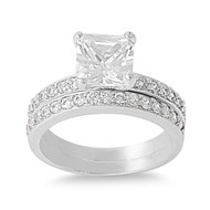 Set of 2 Princess Cut Center Cubic Zirconia Ring Sterling Silver 925