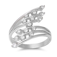 Eden Plant Cubic Zirconia Ring Sterling Silver 925