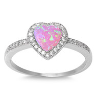 Heart Pink Simulated Opal Cubic Zirconia Ring Sterling Silver 925