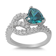 Abstract Heart Mounted Blue Simulated Zircon Cubic Zirconia Ring Sterling Silver 925