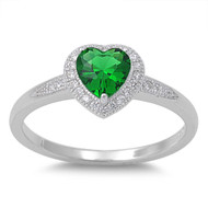 Accented Heart Center Simulated Emerald Cubic Zirconia Ring Sterling Silver 925