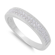 Dual Channel Pave Row Cubic Zirconia Ring Sterling Silver 925