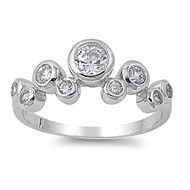Abstract Journey Cubic Zirconia Ring Sterling Silver 925