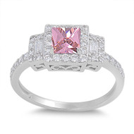 Halo Princess Cut Pink Cubic Zirconia Ring Sterling Silver 925