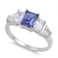 Three Stones Princess Center Simulated Tanzanite Cubic Zirconia Ring Sterling Silver 925