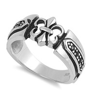 Surreal Fleur De Lis Cubic Zirconia Ring Sterling Silver 925