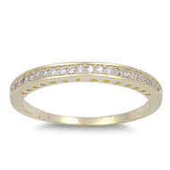 Half Way Eternity Round Cubic Zirconia Ring Yellow Gold- Tone Plated Sterling Silver 925