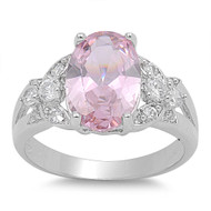 Angel Cluster Sides Pink Cubic Zirconia Ring Sterling Silver 925