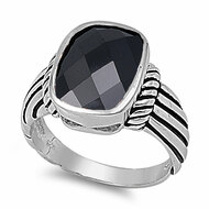 Radiant Cut Center Black Cubic Zirconia Ring Sterling Silver 925