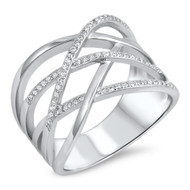 Crooked Lines Designer Cubic Zirconia Ring Sterling Silver 925