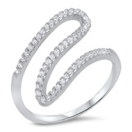 Crooked Line Designer Cubic Zirconia Ring Sterling Silver 925