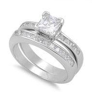 Accent Princess V Prong Invisible Set Cubic Zirconia Ring Set of 2 Sterling Silver 925