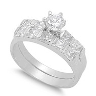 Accent Round Prong Princess Bar Set Cubic Zirconia Ring Set of 2 Sterling Silver 925