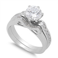 Accent Round Prong Cubic Zirconia Ring Set of 2 Sterling Silver 925