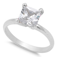 Solitaire Princess Prong Cubic Zirconia Ring Sterling Silver 925