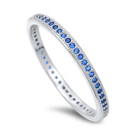 Stackable Micro Pave Simulated Sapphire Cubic Zirconia Ring Sterling Silver 925