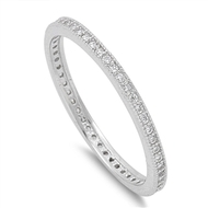 Stackable Micro Pave Cubic Zirconia Ring Sterling Silver 925