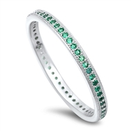 Stackable Micro Pave Simulated Emerald Cubic Zirconia Ring Sterling Silver 925