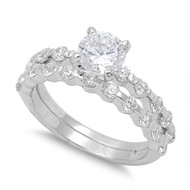 Accent Round Prong Bezel Cubic Zirconia Ring Set of 2 Sterling Silver 925